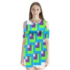 Geometric 3d Mosaic Bold Vibrant Shoulder Cutout Velvet  One Piece by Amaryn4rt