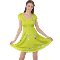 Arrow Line Sign Circle Flat Curve Cap Sleeve Dresses by Amaryn4rt