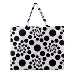Dot Dots Round Black And White Zipper Large Tote Bag by Amaryn4rt