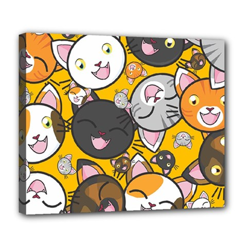 Cats Pattern Deluxe Canvas 24  X 20   by Valentinaart