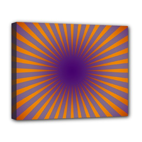 Retro Circle Lines Rays Orange Deluxe Canvas 20  X 16   by Amaryn4rt