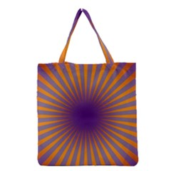 Retro Circle Lines Rays Orange Grocery Tote Bag by Amaryn4rt