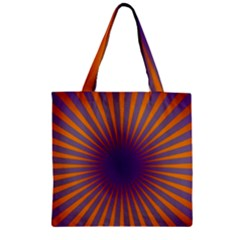 Retro Circle Lines Rays Orange Zipper Grocery Tote Bag by Amaryn4rt