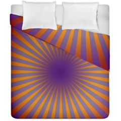 Retro Circle Lines Rays Orange Duvet Cover Double Side (california King Size) by Amaryn4rt