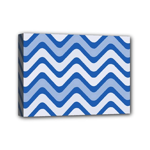 Waves Wavy Lines Pattern Design Mini Canvas 7  X 5  by Amaryn4rt