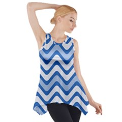 Waves Wavy Lines Pattern Design Side Drop Tank Tunic by Amaryn4rt