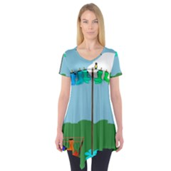 Welly Boot Rainbow Clothesline Short Sleeve Tunic
