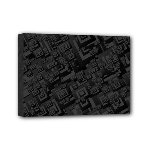 Black Rectangle Wallpaper Grey Mini Canvas 7  X 5  by Amaryn4rt