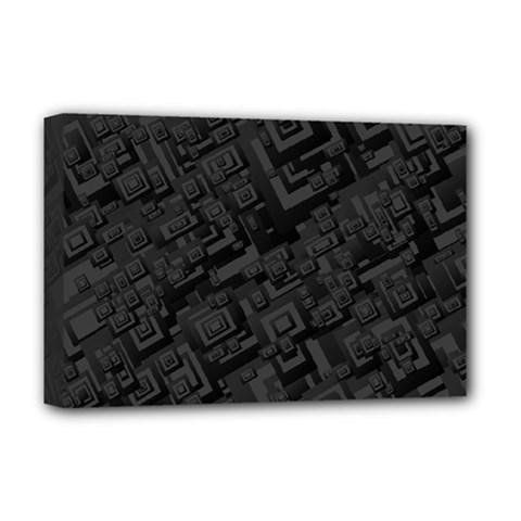Black Rectangle Wallpaper Grey Deluxe Canvas 18  X 12   by Amaryn4rt