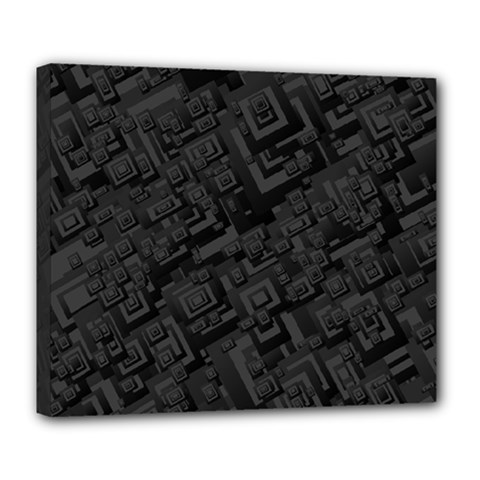 Black Rectangle Wallpaper Grey Deluxe Canvas 24  X 20   by Amaryn4rt