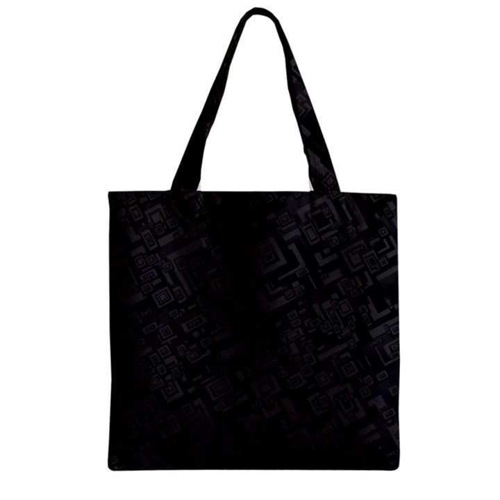 Black Rectangle Wallpaper Grey Zipper Grocery Tote Bag