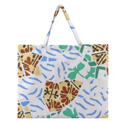 Broken Tile Texture Background Zipper Large Tote Bag by Amaryn4rt