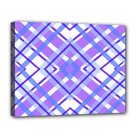Geometric Plaid Pale Purple Blue Canvas 14  X 11  by Amaryn4rt