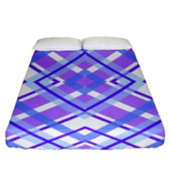 Geometric Plaid Pale Purple Blue Fitted Sheet (queen Size) by Amaryn4rt