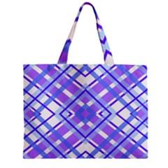 Geometric Plaid Pale Purple Blue Zipper Mini Tote Bag by Amaryn4rt