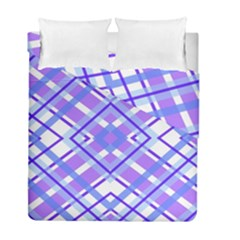 Geometric Plaid Pale Purple Blue Duvet Cover Double Side (full/ Double Size) by Amaryn4rt