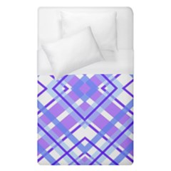 Geometric Plaid Pale Purple Blue Duvet Cover (single Size) by Amaryn4rt