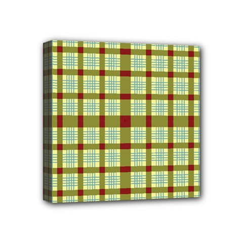 Geometric Tartan Pattern Square Mini Canvas 4  X 4  by Amaryn4rt