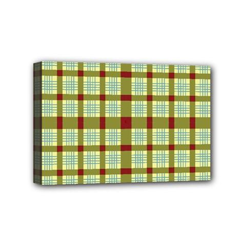 Geometric Tartan Pattern Square Mini Canvas 6  X 4  by Amaryn4rt