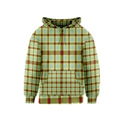 Geometric Tartan Pattern Square Kids  Zipper Hoodie