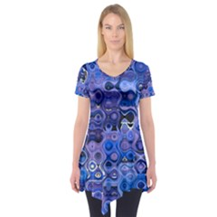 Background Texture Pattern Colorful Short Sleeve Tunic  by Amaryn4rt