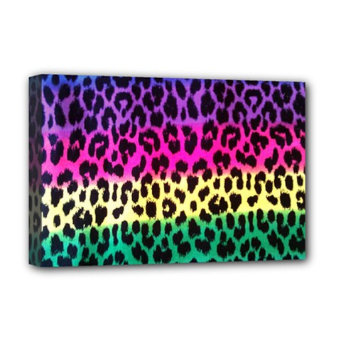 Cheetah Neon Rainbow Animal Deluxe Canvas 18  X 12   by Alisyart