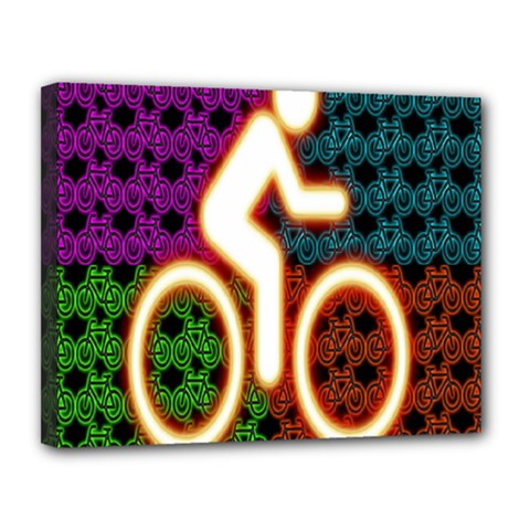 Bike Neon Colors Graphic Bright Bicycle Light Purple Orange Gold Green Blue Canvas 14  X 11  by Alisyart