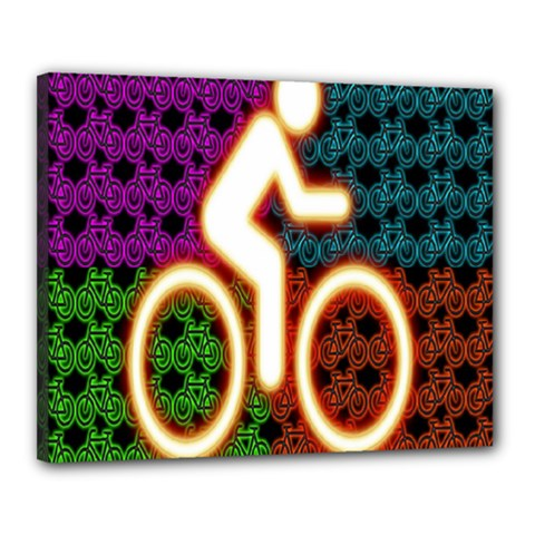 Bike Neon Colors Graphic Bright Bicycle Light Purple Orange Gold Green Blue Canvas 20  X 16  by Alisyart