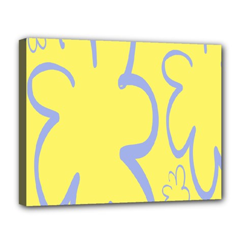 Doodle Shapes Large Flower Floral Grey Yellow Canvas 14  X 11  by Alisyart