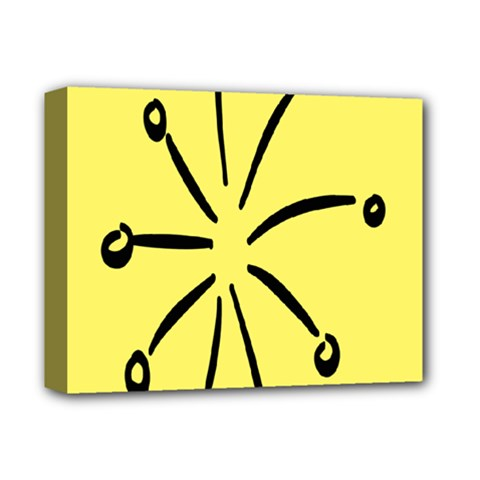 Doodle Shapes Large Line Circle Black Yellow Deluxe Canvas 14  X 11  by Alisyart