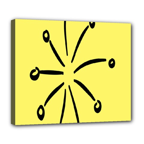 Doodle Shapes Large Line Circle Black Yellow Deluxe Canvas 24  X 20   by Alisyart