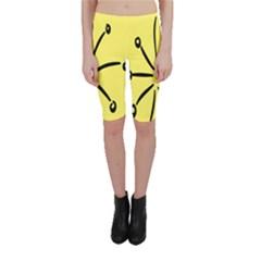 Doodle Shapes Large Line Circle Black Yellow Cropped Leggings