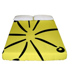 Doodle Shapes Large Line Circle Black Yellow Fitted Sheet (king Size) by Alisyart