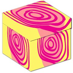 Doodle Shapes Large Line Circle Pink Red Yellow Storage Stool 12   by Alisyart