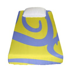 Doodle Shapes Large Waves Grey Yellow Chevron Fitted Sheet (single Size) by Alisyart