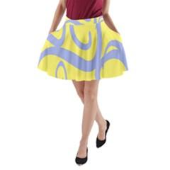 Doodle Shapes Large Waves Grey Yellow Chevron A Line Pocket Skirt by Alisyart