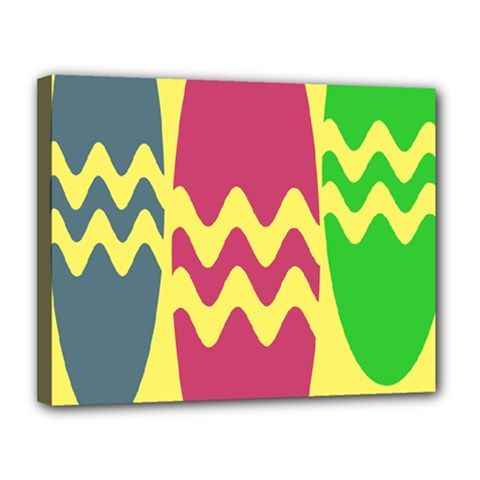 Easter Egg Shapes Large Wave Green Pink Blue Yellow Canvas 14  X 11  by Alisyart