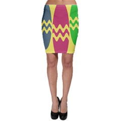 Easter Egg Shapes Large Wave Green Pink Blue Yellow Bodycon Skirt by Alisyart