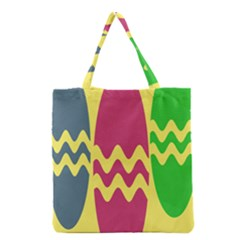 Easter Egg Shapes Large Wave Green Pink Blue Yellow Grocery Tote Bag by Alisyart