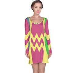 Easter Egg Shapes Large Wave Green Pink Blue Yellow Long Sleeve Nightdress by Alisyart