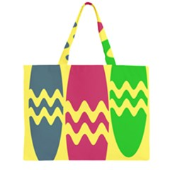 Easter Egg Shapes Large Wave Green Pink Blue Yellow Zipper Large Tote Bag by Alisyart