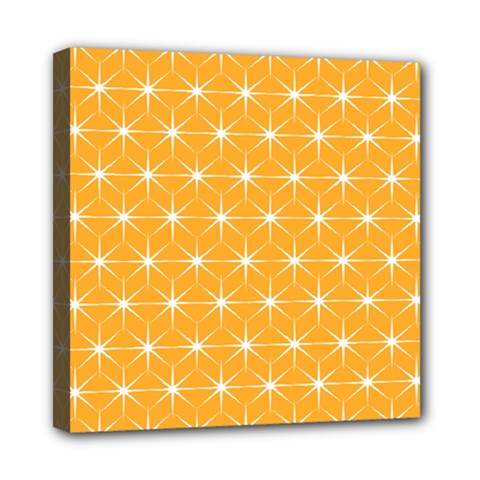 Yellow Stars Light White Orange Mini Canvas 8  X 8  by Alisyart
