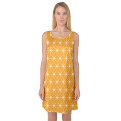 Yellow Stars Light White Orange Sleeveless Satin Nightdress by Alisyart