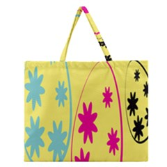 Easter Egg Shapes Large Wave Green Pink Blue Yellow Black Floral Star Zipper Large Tote Bag by Alisyart