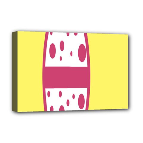 Easter Egg Shapes Large Wave Pink Yellow Circle Dalmation Deluxe Canvas 18  X 12   by Alisyart
