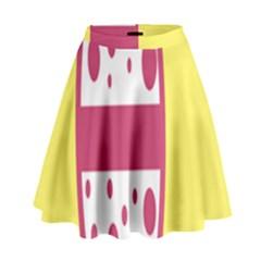 Easter Egg Shapes Large Wave Pink Yellow Circle Dalmation High Waist Skirt by Alisyart