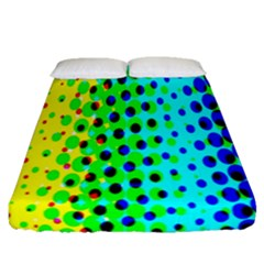Comic Strip Dots Circle Rainbow Fitted Sheet (queen Size) by Alisyart