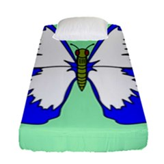 Draw Butterfly Green Blue White Fly Animals Fitted Sheet (single Size) by Alisyart