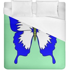 Draw Butterfly Green Blue White Fly Animals Duvet Cover (king Size) by Alisyart
