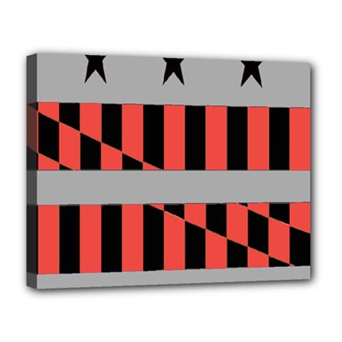 Falg Sign Star Line Black Red Canvas 14  X 11  by Alisyart